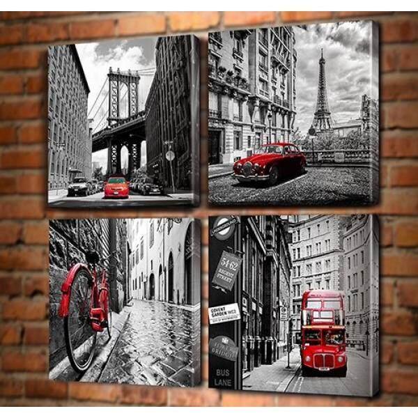 Foto Hitam dan Putih Dinding Seni-Kota Cityscape Kanvas Cetakan Dinding Seni Baru York Jembatan Brooklyn Gambar Menara Eiffel italia Lusuh Sepeda Sepeda London Ganda Decker Buss Mobil Merah Klasik Dekorasi Rumah-Internasional