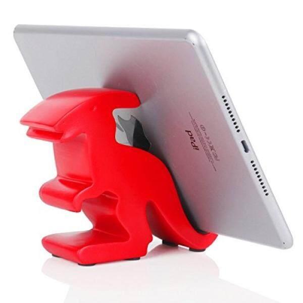 Plinrise Resin Seni Ketrampilan Lucu Parasaurolophus Dinosaur Desktop Ponsel Penyangga Mounts, dekoratif Permen Warna Animal Dino Kreatif Pintar Telepon Penahan untuk Iphone Ipad Samsung Tablet Kindle-Merah-Internasional