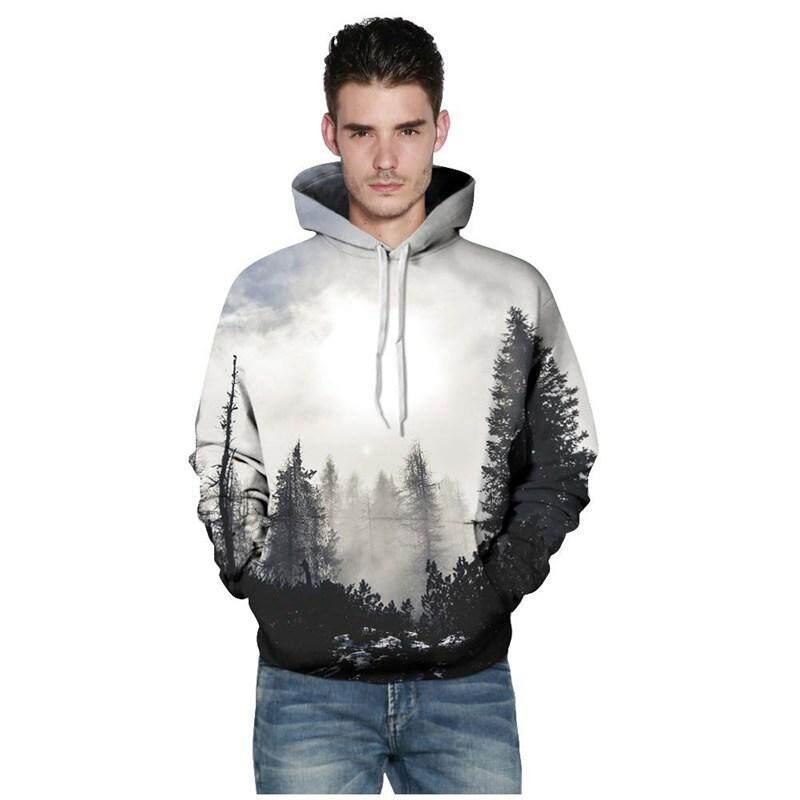 Pria Mode untuk Wanita Musim Semi Musim Gugur Ramping Jaket Tudung dan  Sweter 3D Cetak Hutan Pohon Mantel Sederhana Hip Hop Mantel Pakaian  Olahraga Santai ... 35b8148d9f