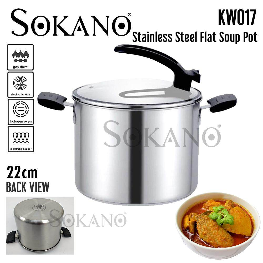 (RAYA 2019) SOKANO KW017 22cm Premium High Quality Stainless Steel Flat Soup Pot