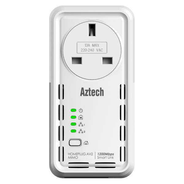 Aztech HomePlug HL129EP AV 1200Mbps Powerline Ethernet Adapter with AC Pass Through (UK Plug)