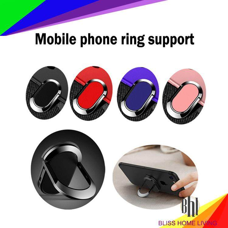 (Black)Mobile Phone Finger Ring Holder Stand Mount Charging Multi-function Rotating Support Universal Bracket
