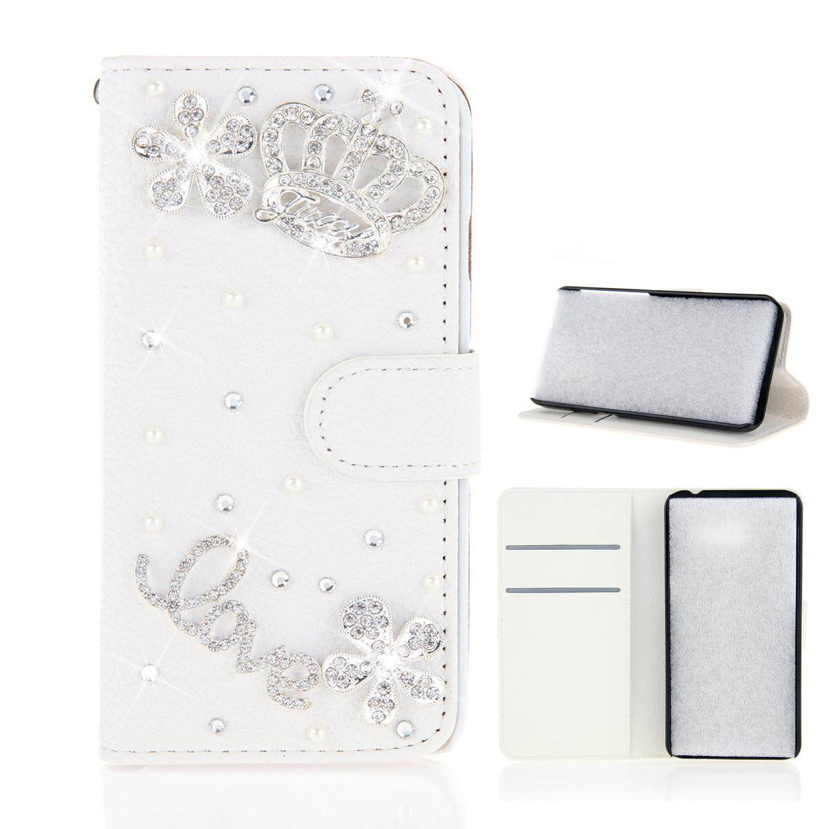 Case for HTC U11 Plus 3D Bling Diamond Rhinestones PU Leather Wallet Case Flip Stand Card Slots Cover with Magnetic Closure - intl