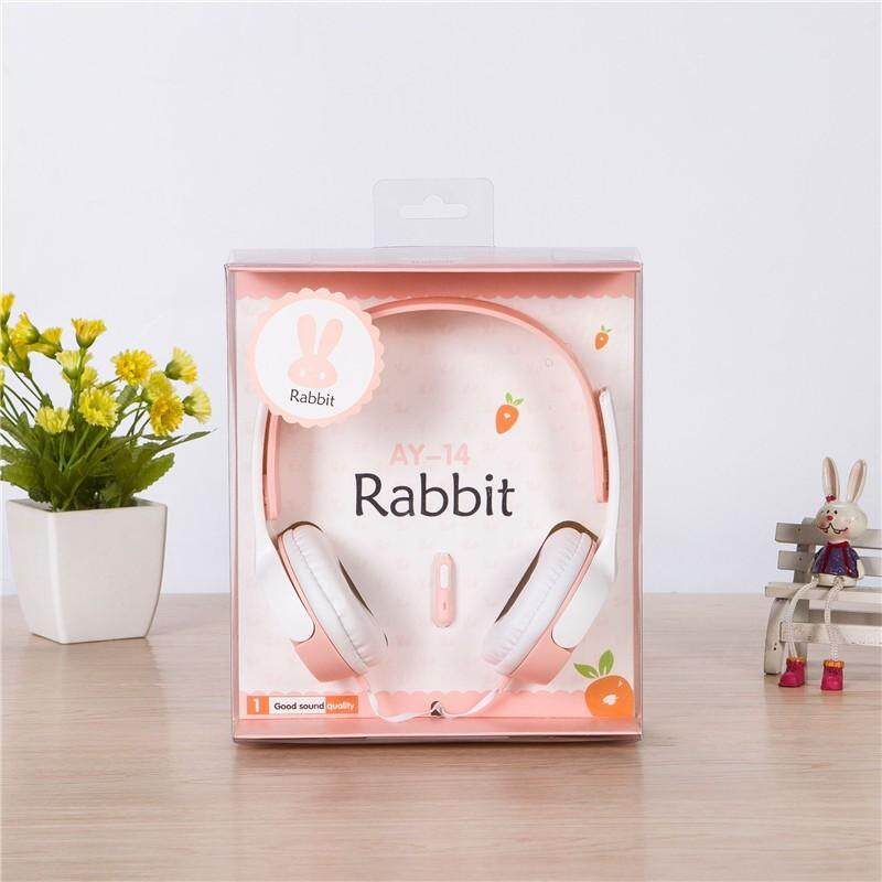 Headphone Motif Lucu EX02 Warna Permen Set Kepala Kelinci Earphone Stereo HIFI dengan Suara Mikrofon Pengurangan Fuction