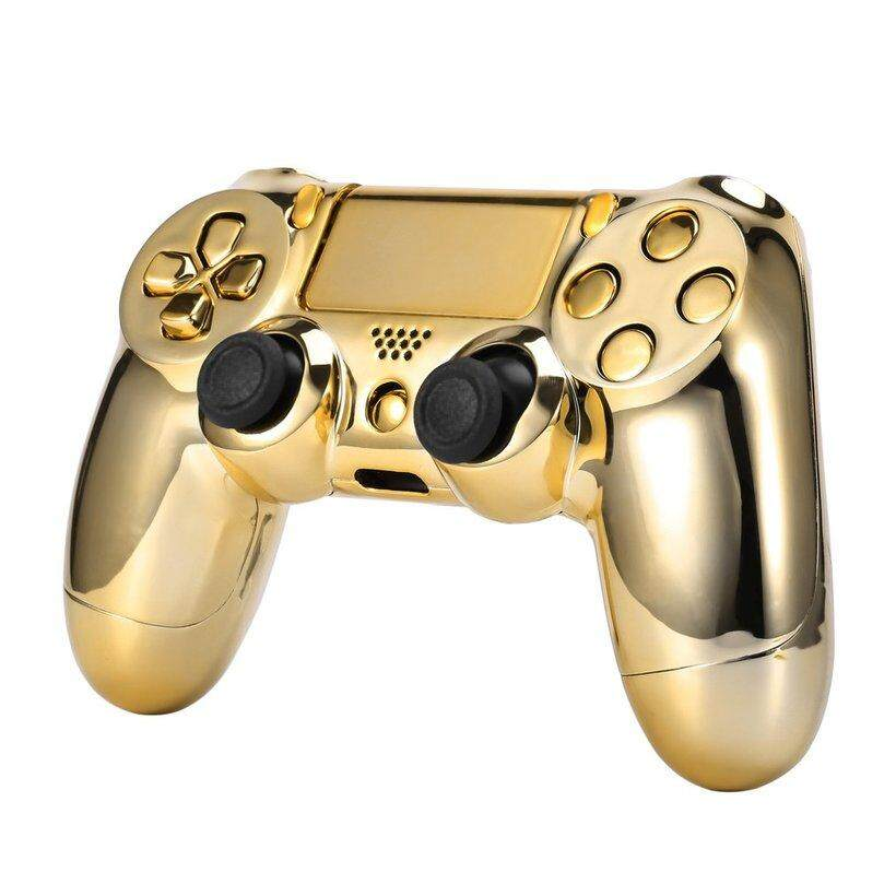 BELLE Gold Chrome Replacement Hydro Dipped Shell Mod Kit for PS4 Controller