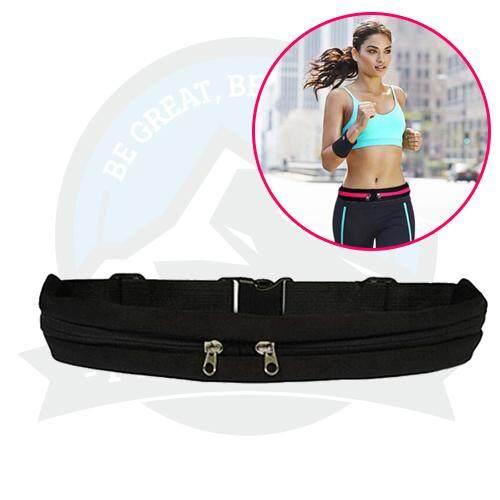 Outdoor Sports Riding Running Belt Jogging Belt Double-Zip Pockets Waist Belt Phone Bag - Black