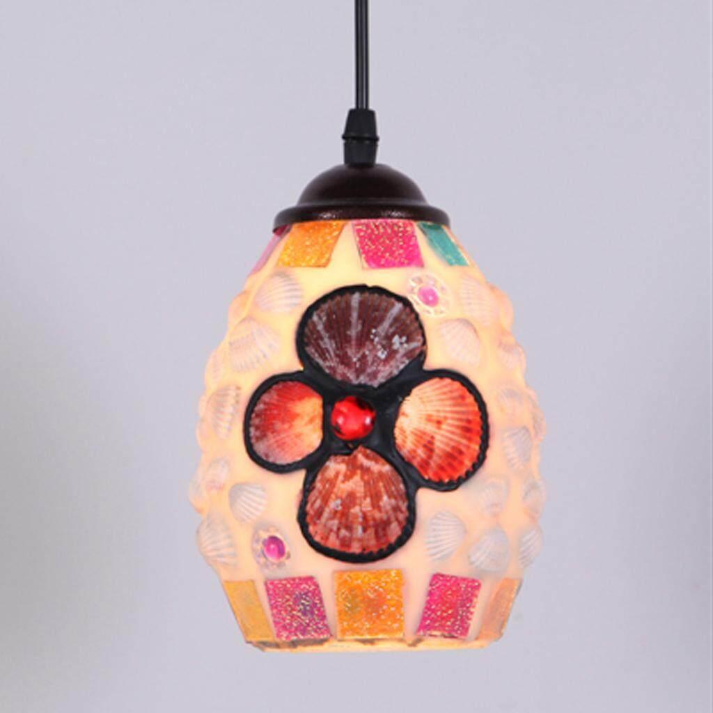BolehDeals Vintage Retro Mosaic Style Multicolour Pendant Light Bulb Cage Ceiling Hanging Lampshade Home Bar Cafe Restaurant Decoration
