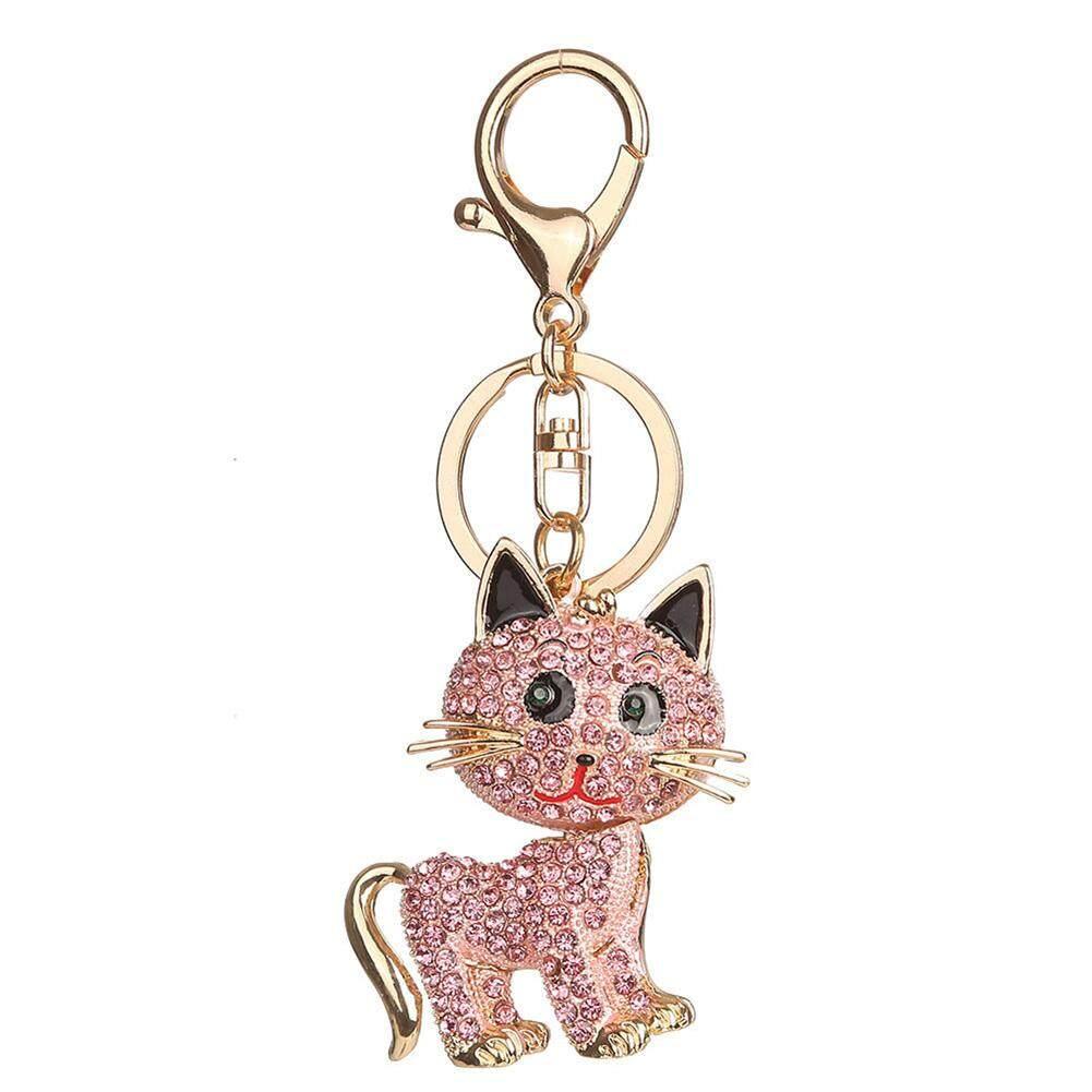 Bluelans Cute Cat Alloy Soft Pendant Girls Keychain Key Ring Handbag Phone Car Accessory (Pink