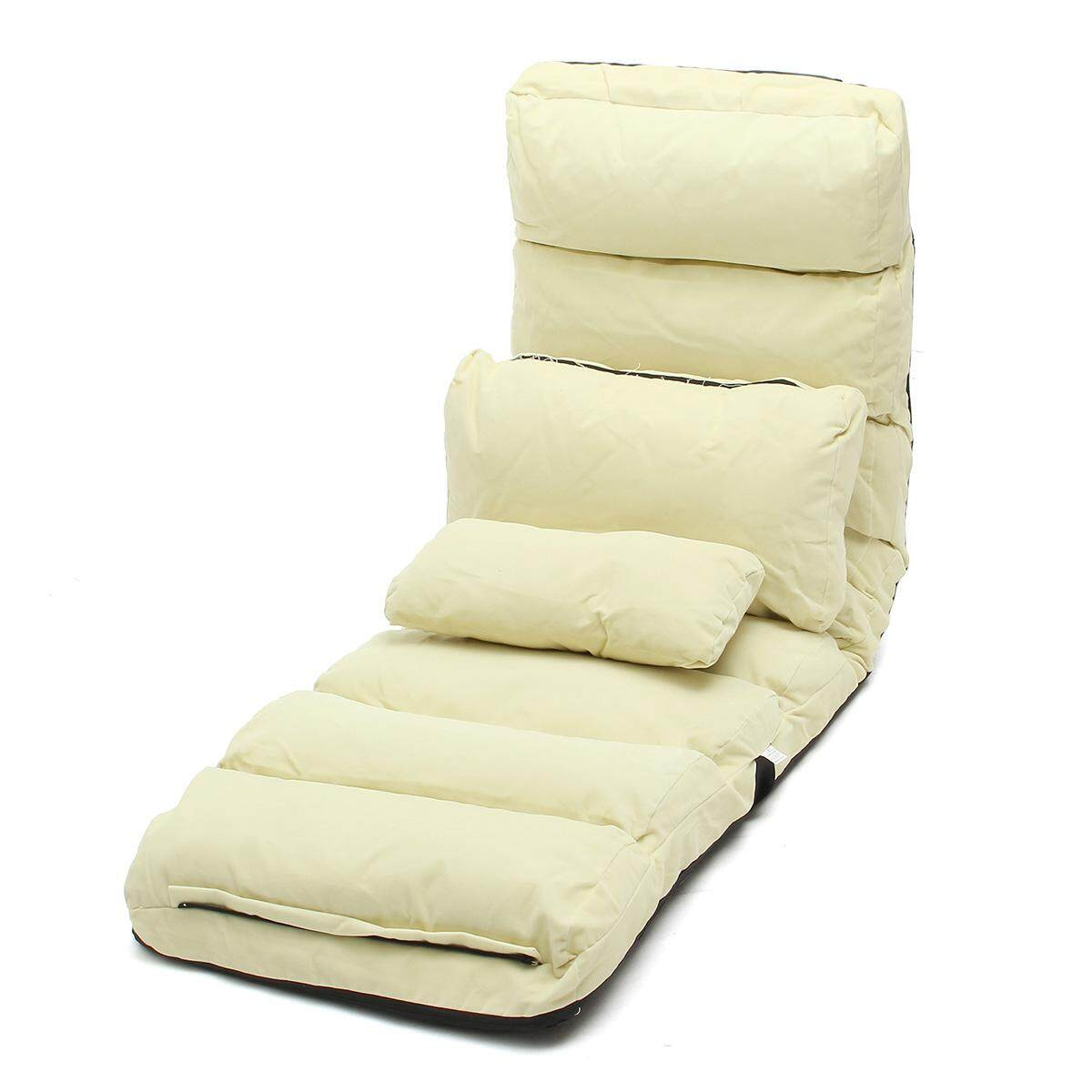 Lounge Sofa Bed Floor Recliner Folding Chaise Chair Adjustable Foldable AU Home Beige (Lengthen Size) - intl