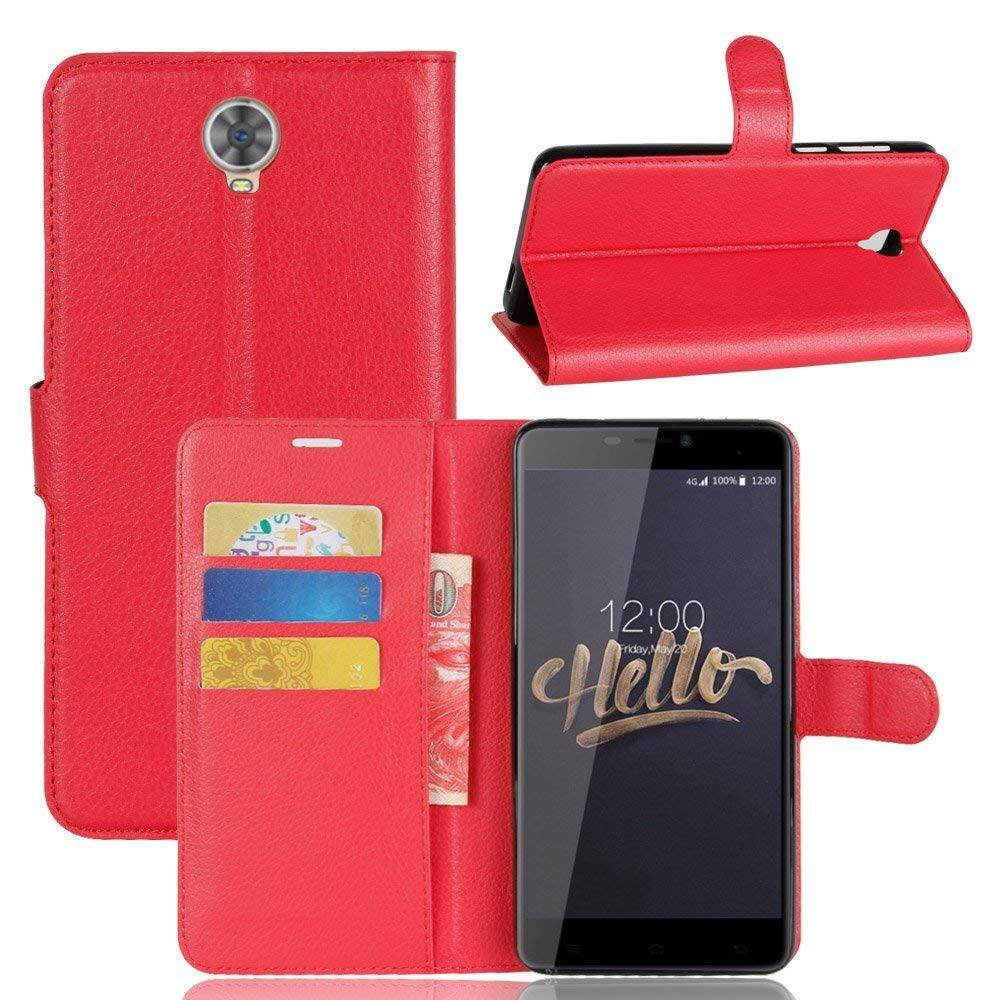 Flip Cover untuk Cubot Max 6.0 Pu Penyangga Kulit Tempat Dompet dengan Slot Kartu (Merah)