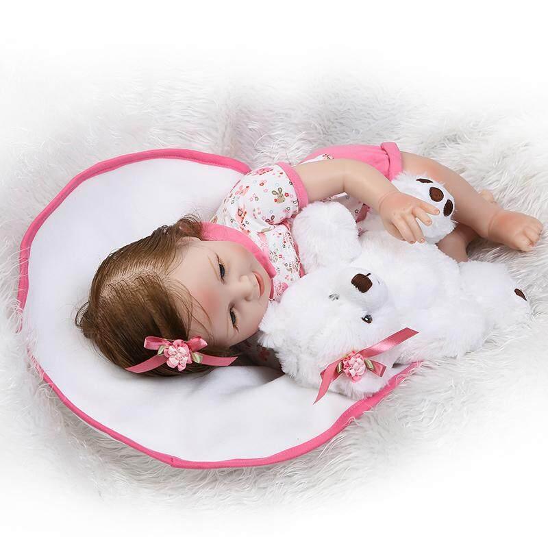 22in Silikon Sebadan Penuh Vinyl Senyum Bayi Perempuan Boneka Bayi Baru  Lahir Manusia Hidup Hadiah ... 17723a4d87