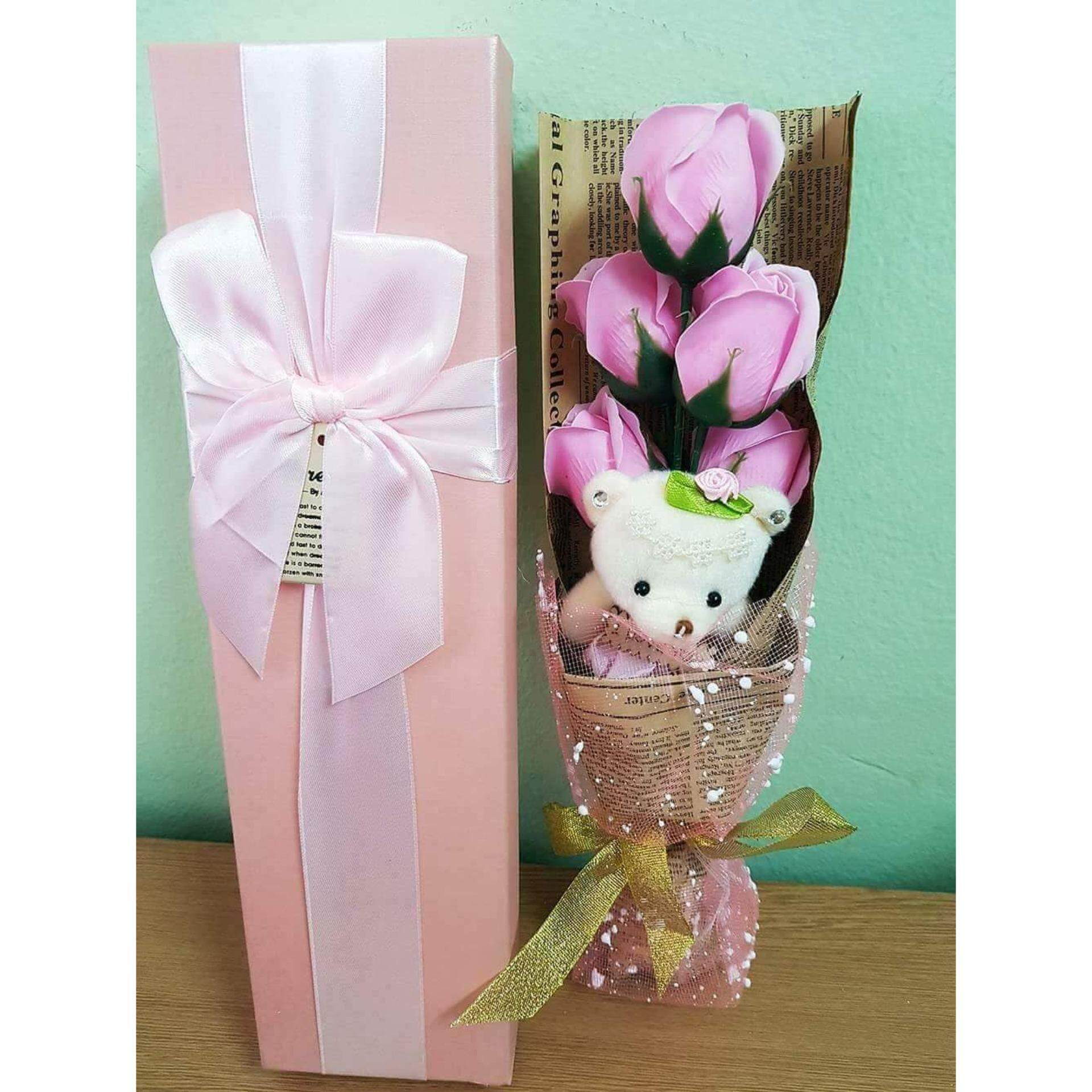 Soap Rose Bouquet With Bear Gift Box
