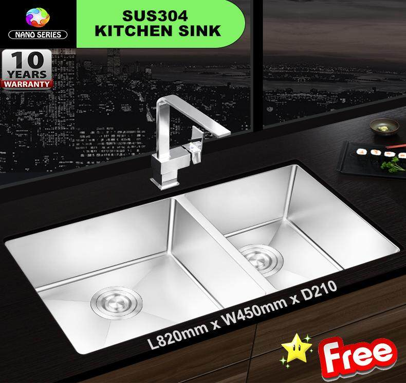 8245 NANO Handmade 304 Stainless Steel Kitchen Sink Under mount Double Bowl * FREE