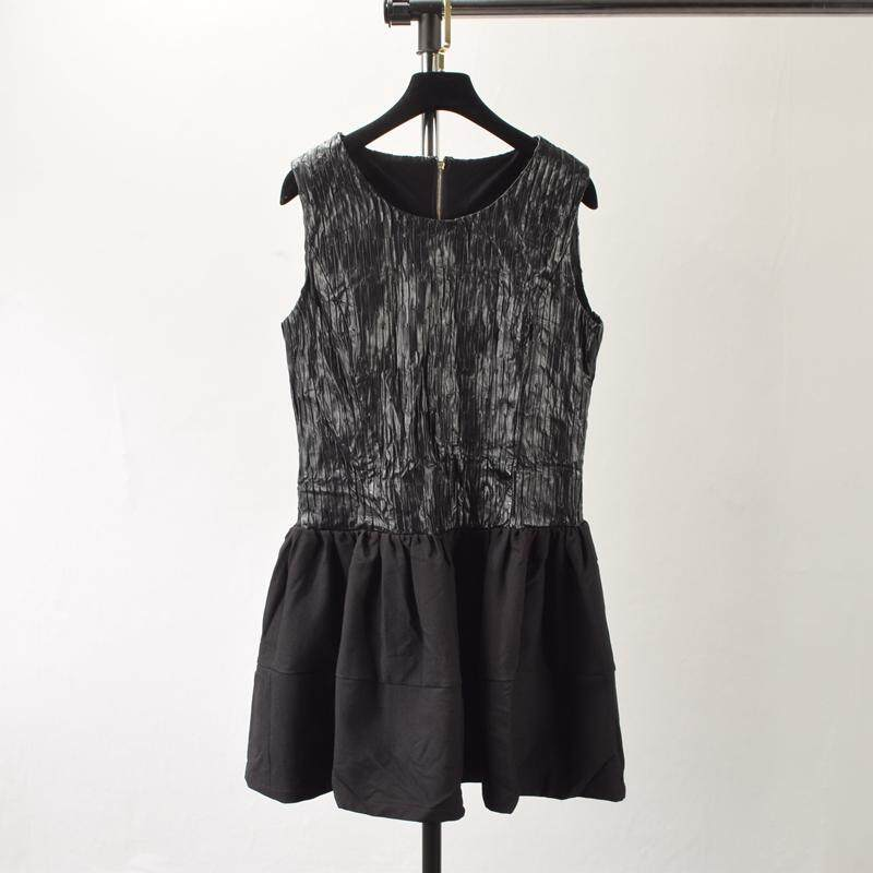 Fashionable Elegant PU Sleeveless Flared Dress