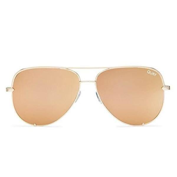 Quay Australia Tinggi Kunci Pria dan Wanita Kacamata Hitam Klasik Aviator Ukuran Berlebih-Gold-Intl
