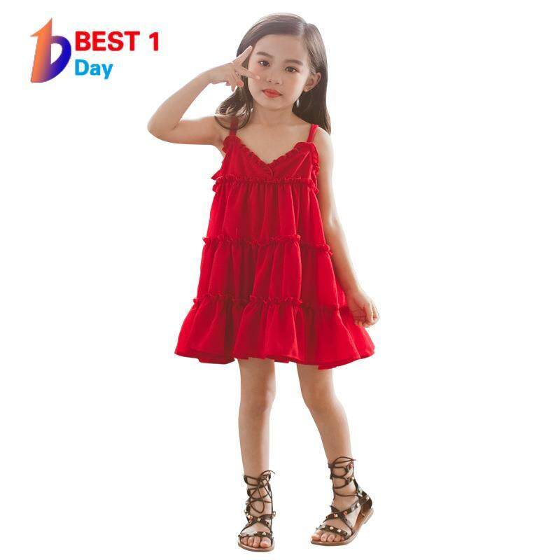 Bestoneday Musim Panas Gadis Baru Temperamen Lucu Harness Warna-warni Gaun Anak Pakaian Renda Dicintai