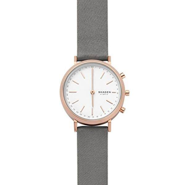 7560a2bbd0bc6 Skagen Womens Hald Rose Gold-Tone Hybrid Smartwatch Quartz Stainless Steel  and Satin Casual Watch