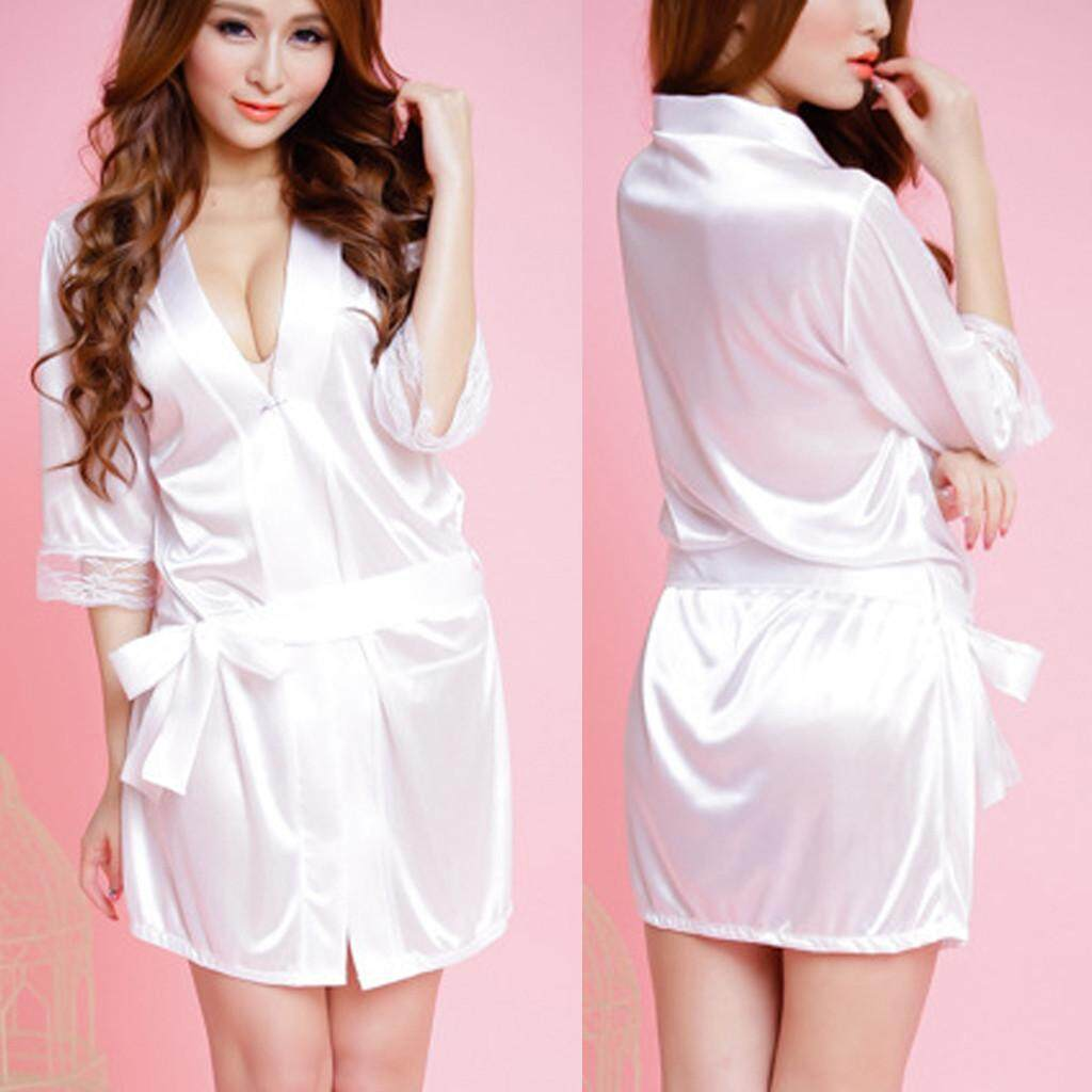 57b83d2a80 Lingerie Sleep Robes Women Ladies Sexy Lace Silk Underwear Lingerie  Sleepwear Nightdress Robe Dress