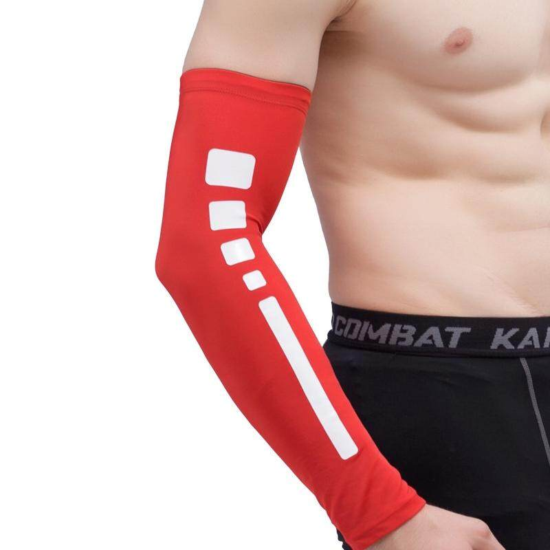 Men Outdoor Sports Elastic Breathable Anti-skid Elbow Arm Sleeve UV Protective Gear, Size: L (Red) - intl