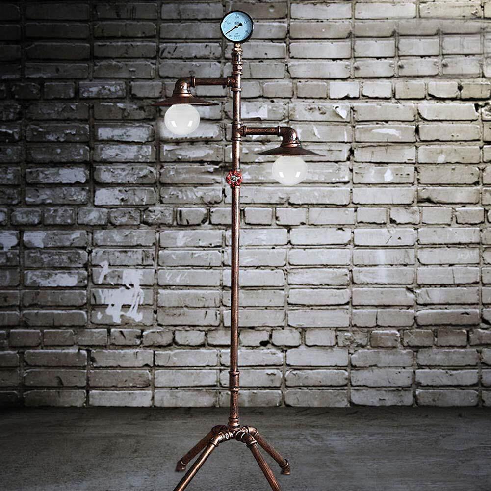 Vintage Creative Iron Water Pipe Floor Lamp Loft Industrial Standing Lamp Hotel Bedroom Study Living Room Light E27 - intl