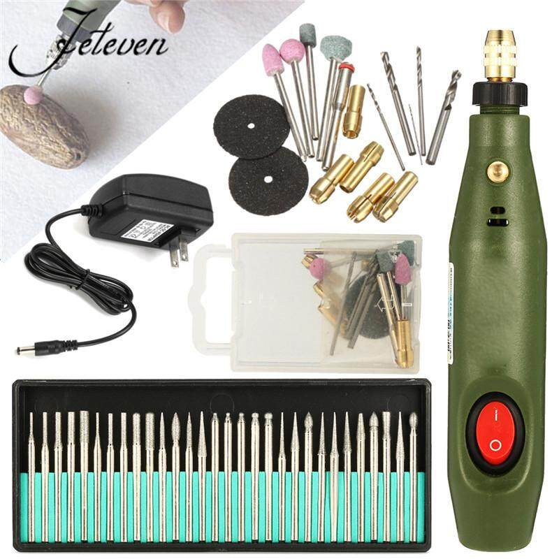Hình ảnh Mini Electric Wood Carving Tools Set Engraving Chisel Pen with 30pcs Drill - intl