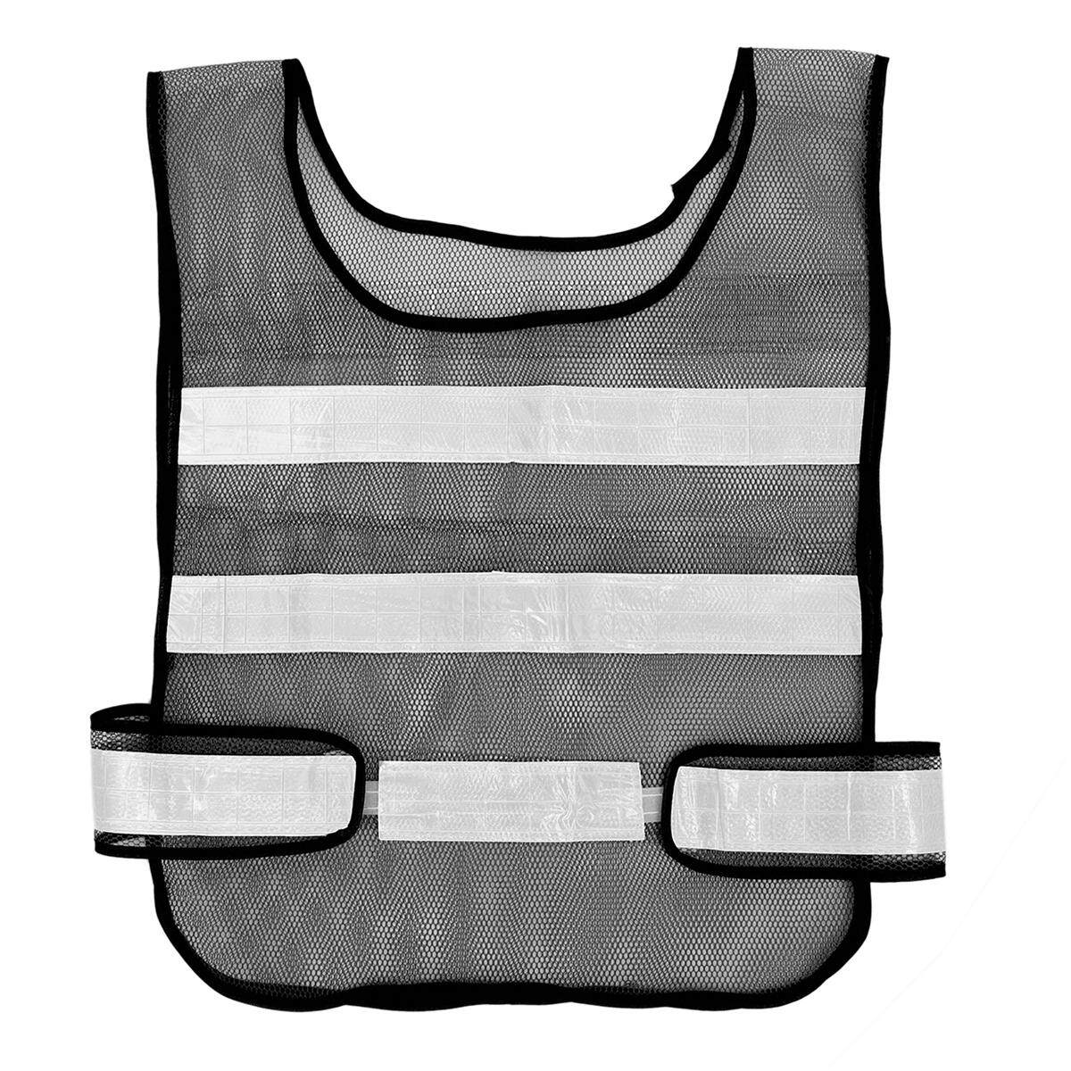 Traffic Security Vest Visibility Mesh Reflective Stripes Waistcoat[ Black]
