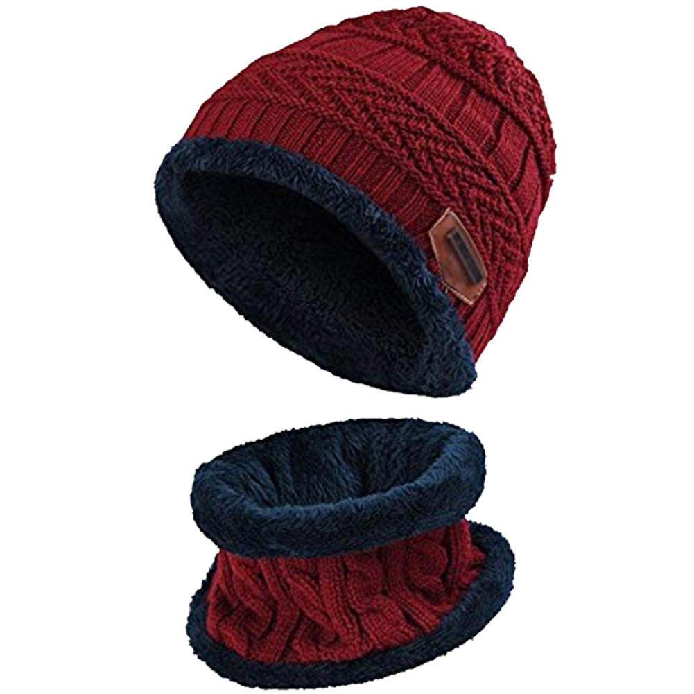 6ac09856 Knitted Hat Scarf Caps Neck Warmer Winter Hats For Men Women Skullies  Beanies Warm Fleece Cap