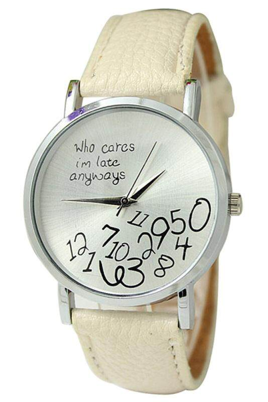 Arab numerals Leatherlet watches Quartz Analogue, Rosa, Unisex Watches, beige