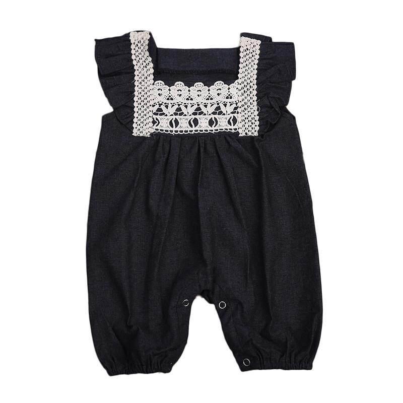 Baru Musim Panas Pakaian Bayi Romper Denim Ruffles Lengan Yang Baru Lahir Romper Bayi Setelan Luar Tubuh Setelan - 3