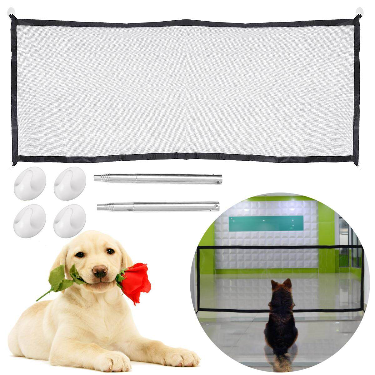 Portable Folding Magic Safety Gate Guard Mesh Fence Net For Pets Dog Puppy Cat By Glimmer.