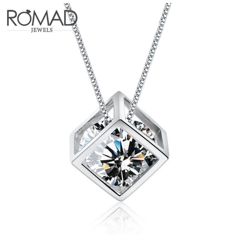 Unik Jual Hot Square Liontin Kubus 100% 925 Perak Berkilau Kalung untuk Mode untuk Wanita Wanita Pertunangan Pernikahan Aksesoris Perhiasan-Intl
