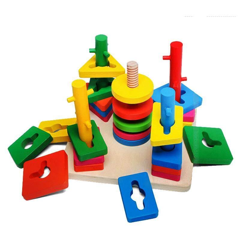 5 Pillar Matching Kids Educational Game Wooden Block Toy