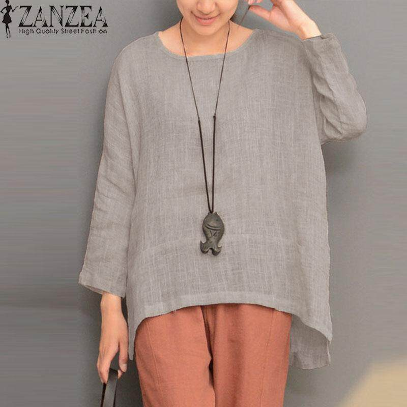 ec5fceae437807 ZANZEA Plus Size Women Retro O Neck Long Sleeve Split Cotton Linen Spring  Robe Blouse Shirt