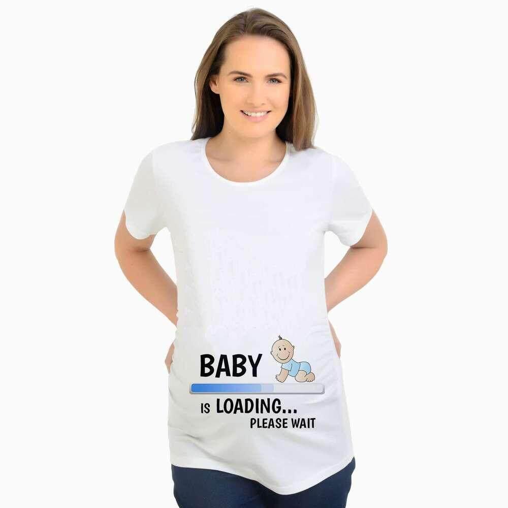 Musim Panas Baru Panjang Kaus Longgar Di Pakaian Ibu Hamil Bayi Cetak Ukuran Besar Wanita Hamil