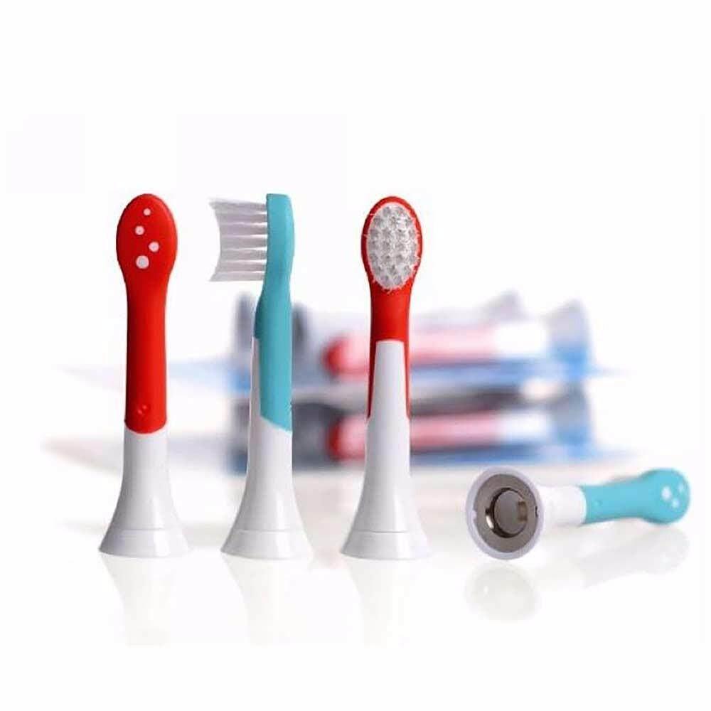 แปรงสีฟันไฟฟ้า ทำความสะอาดทุกซี่ฟันอย่างหมดจด น่าน 4pcs HX6034 Generic Electric Sonic Replacement Brush Heads Fits For Sonicare Toothbrush Heads Kids Soft Bristle