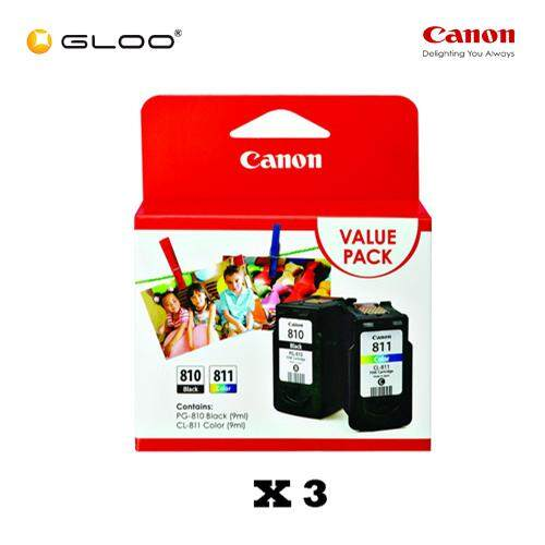 [Set of 3] Canon Fine Value Pack 2 PG-810+CL-811 Ink Cartridges
