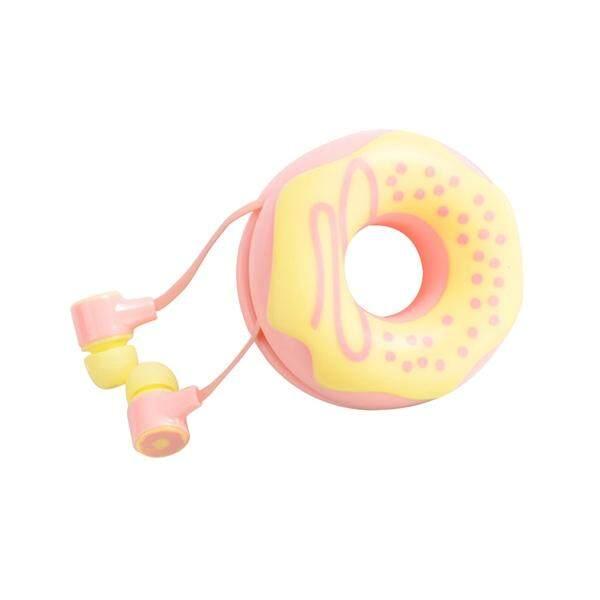 Lucu Donuts Macarons Earphone Dalam Telinga Portable Gadis Headphone Stereo dengan MIC Wadah Earphone untuk Samsung Google Pixel Sony Komputer PC