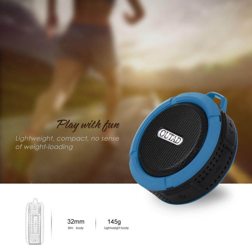 GOFT OUTAD C6 Wireless Bluetooth Speaker With Calls Handsfree and Suction Cup Blue .