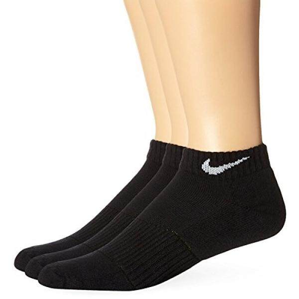 NIKE Unisex Performance Cushion Low Training Socks (3 Pair), Black/White, Large - intl