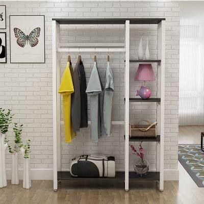 Simple wrought iron creative coat rack floor bedroom wooden hangers household racks storage clothes cabinet IKEA