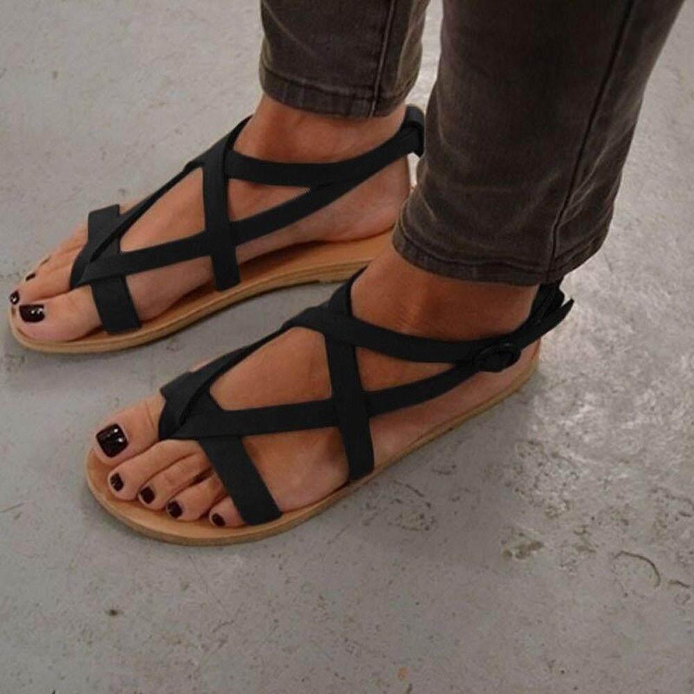 091dcb7bb7f7 Womens Ladies Flat Wedge Espadrille Rome Tie up Sandals Platform Summer  Shoes