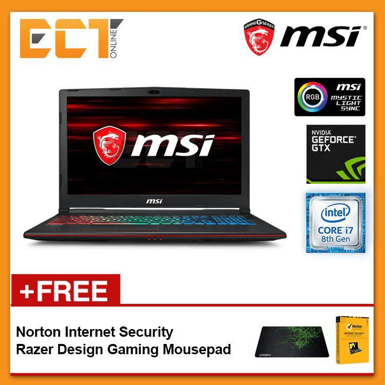 MSI GP63 8RD-409 Gaming Laptop (i7-8750H 4.10GHz,1TB+128GB SSD,8GB,GTX1050TI-4G,15.6 FHD,W10) Malaysia