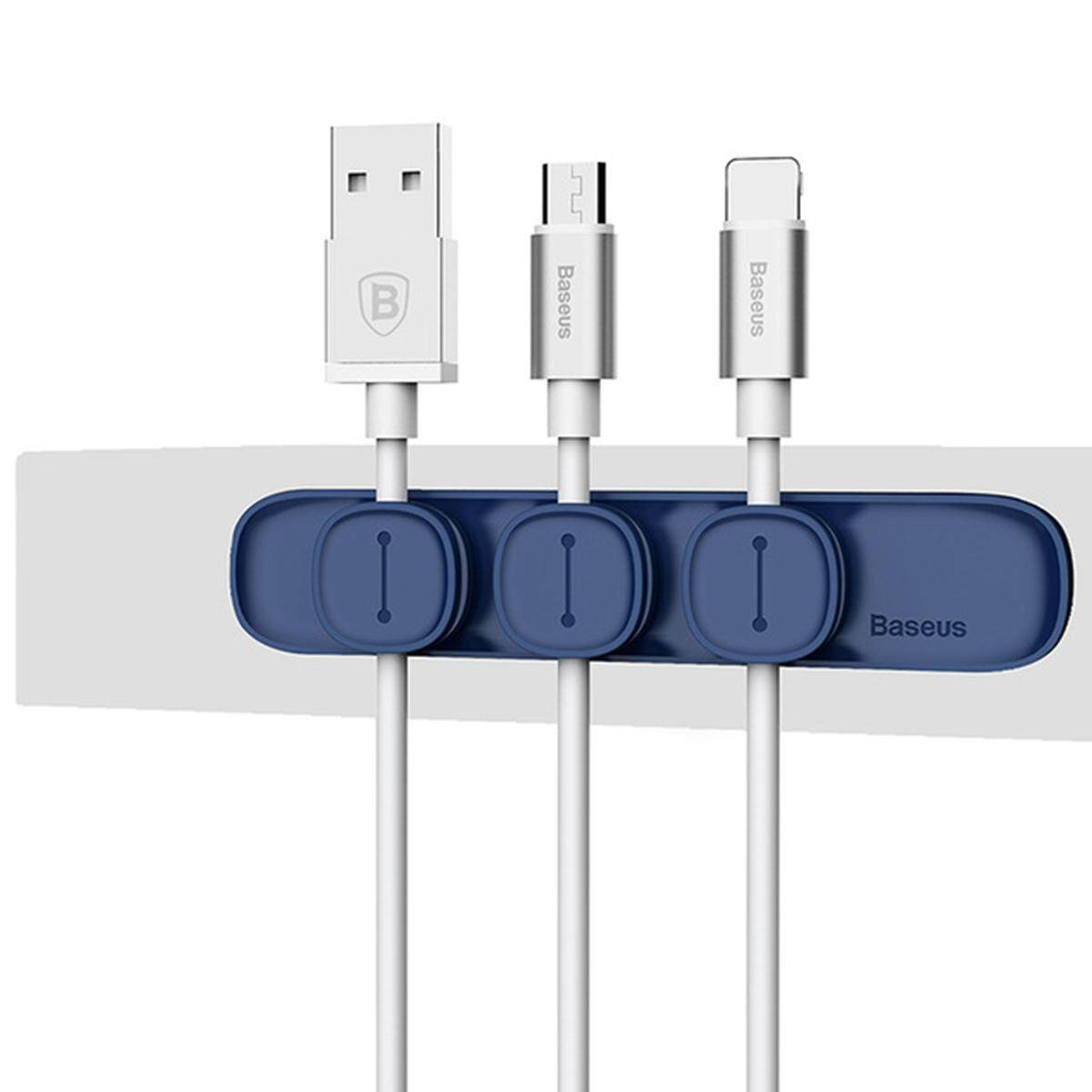 Baseus Durable Magnetic Cable Clip USB Cable Organizer Clamp Desktop Workstation Wire Cord Management Cable Winder - Dark Blue - intl
