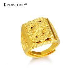 Kemstone ครอบงำ 24 พันชุบทองปรับมังกรแหวนแฟชั่นเครื่องประดับทองเลียนแบบของขวัญสำหรับผู้ชาย
