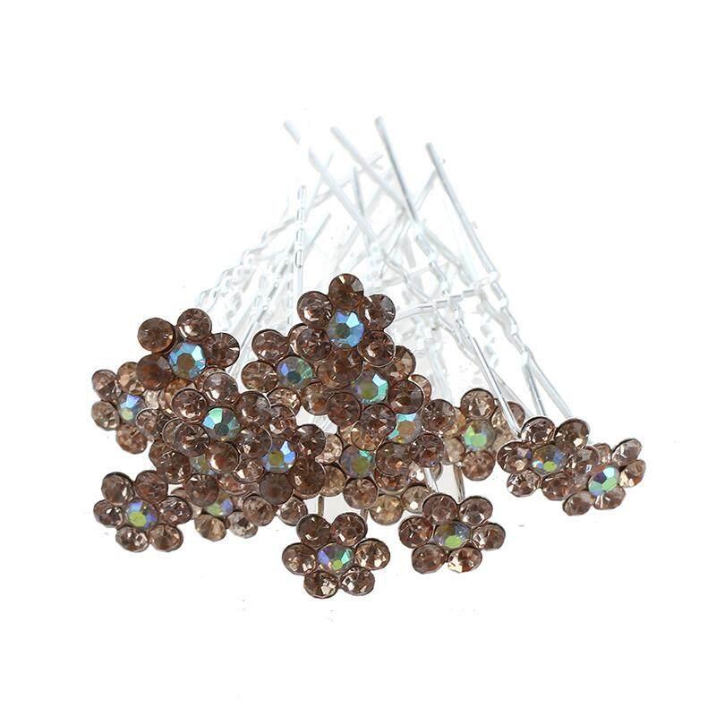 Perhiasan Berlian Imitasi Kristal Bunga Pernikahan Rambut Jepit Rambut ( Sampanye Warna)-Intl