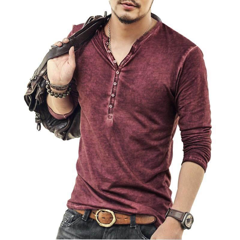 Tide Tyle Men Shirt 2018 New Fashion V Neck T Shirt High Quality Long- sleeved