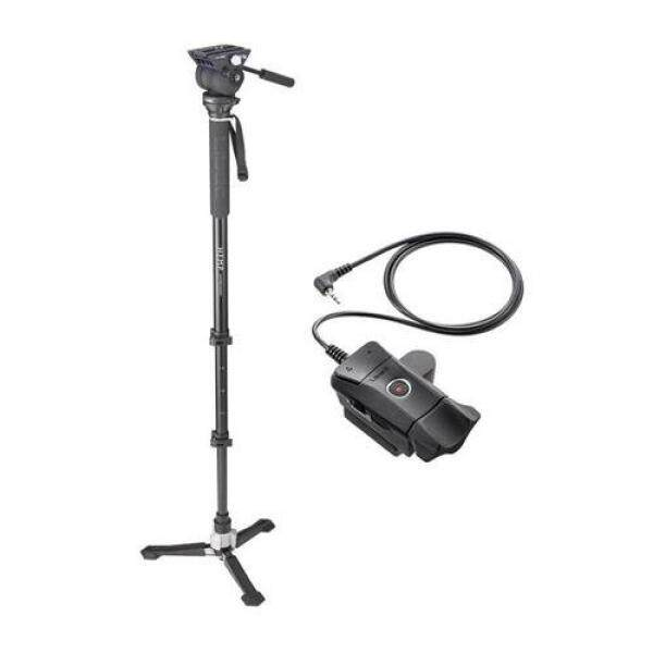 Libec Hands-Free Monopod with Dual Base Video Head and Carrying Case - With ZFC-L Zoom and Focus Control for LANC Video Cameras