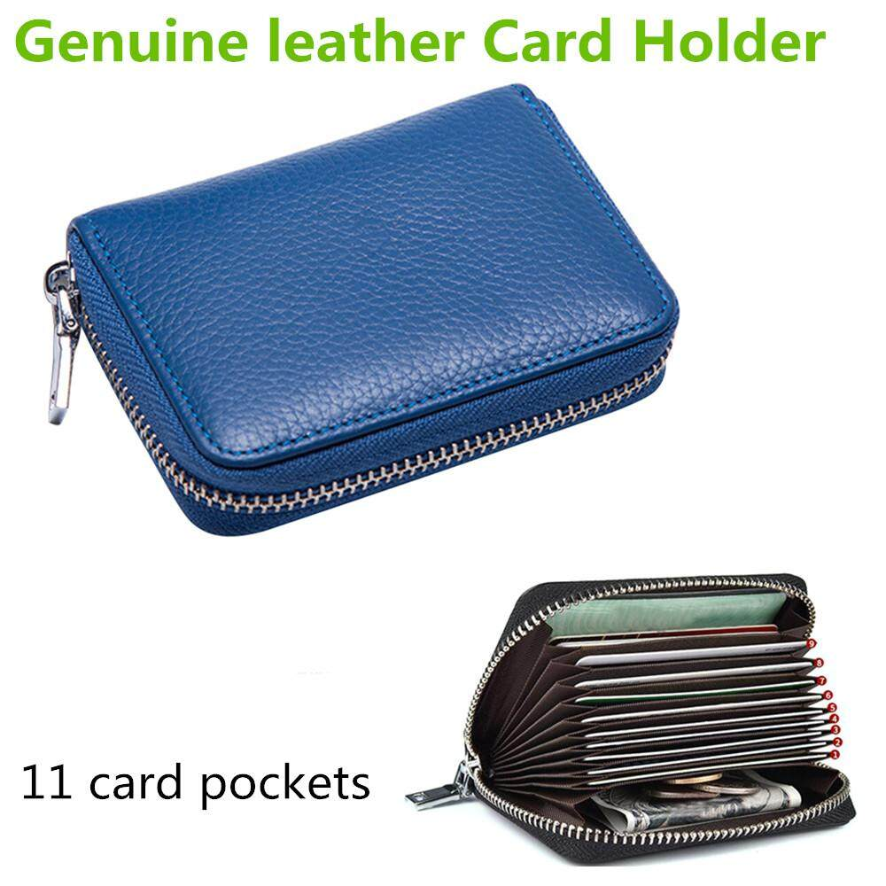 Genuine Leather Card Holder Credit Card Case Organizer Zipper Wallet Security Card Bag With 11 Card