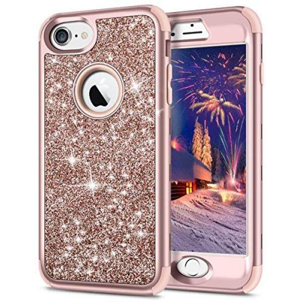 Cell Phones Cases SAMONPOW iPhone 7 Case,SAMONPOW 3 in 1 Full Body Protection iPhone 7 Cover Bling Glitter Sparkle Hard PC Soft Slicone Inner iPhone 8 Heavy Duty Anti-Scratch Defender Rugged Bumper for iPhone 7/ 8 - Rose Gold - intl