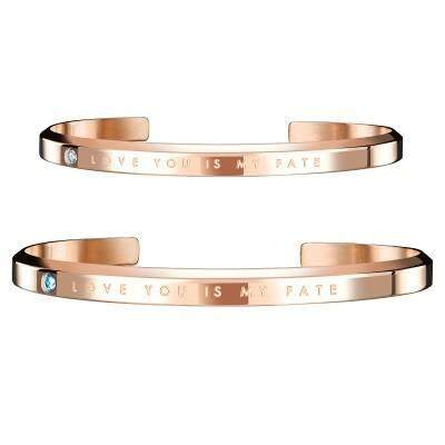 Love You Is My Fate Couple Bracelet(Rose Gold)